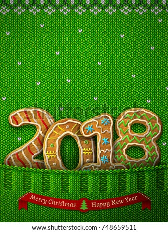 New Year 2018 in shape of gingerbreads in knitted pocket. Jumper fragment with year number like cookies. Best illustration for new years day, christmas, cooking, winter holiday, food, silvester, etc