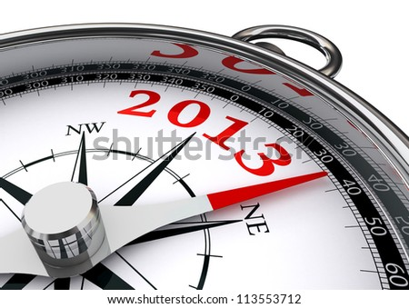 new year 2013 indicated by conceptual compass on white background