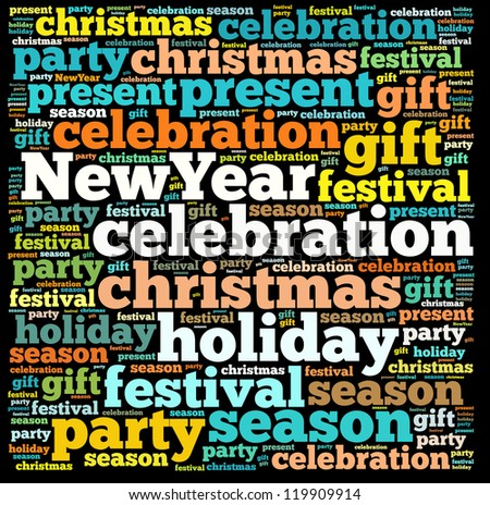 New year info-text graphics and arrangement concept on white background (word cloud)