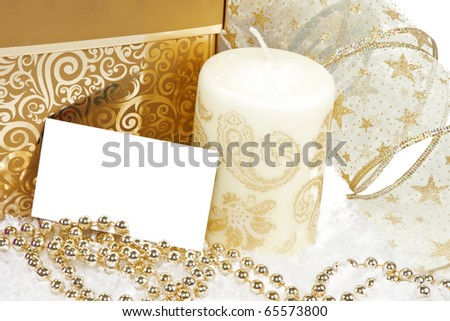 New Year Invitation Card with golden decoration.