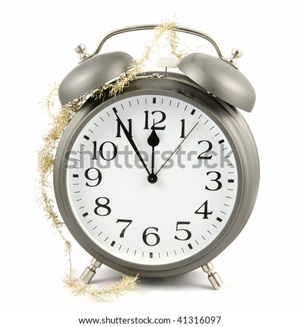 New Year is coming! Alarm clock with golden chain
