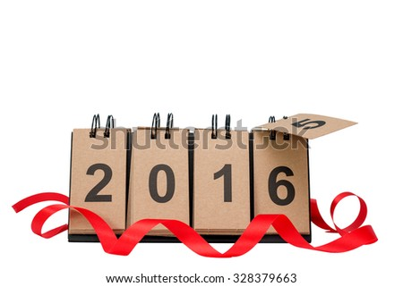 New Year 2016 is coming concept. Happy New Year 2016 replace 2015 concept isolated on white background with copy space for your text. This picture have clipping path for easy to use.