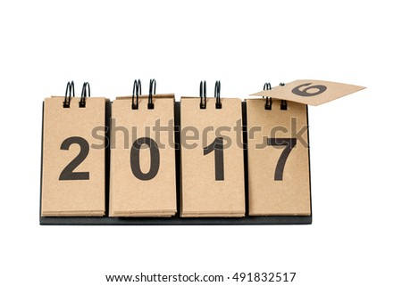 New Year 2017 is coming concept. Happy New Year 2017 replace 2016 concept isolated on white background with copy space for your text. This picture have clipping path for easy to use.