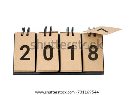 New Year 2018 is coming concept. Happy New Year 2018 replace 2017 concept isolated on white background. This picture have clipping path for easy to use.