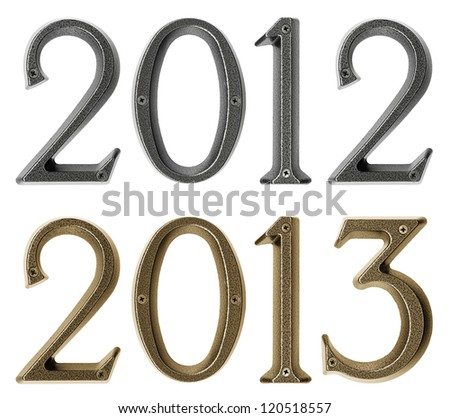 New year 2013 is coming concept - metal numbers 2012 and 2013, isolated over white background