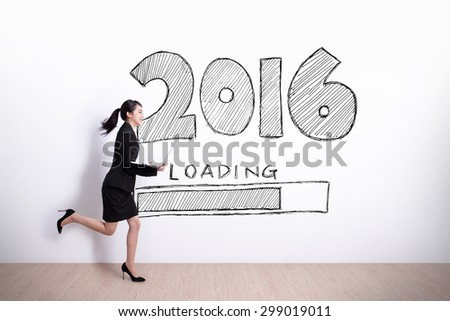 New Year is loading now - Successful business woman running and hold laptop computer with 2016 text and white wall background #299019011