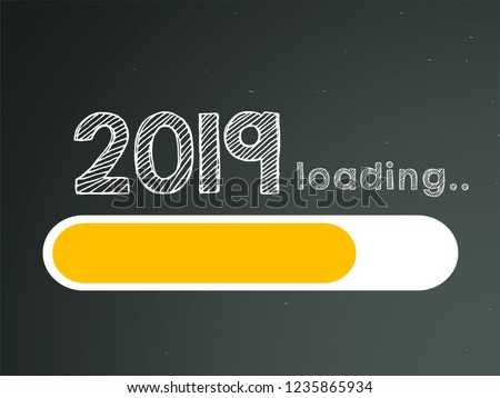 New Year 2019 Loading Bar concept. Progress bar almost reaching new year's eve. #1235865934