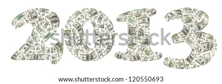 New year. 2013 made by flying 100 dollars banknotes. Isolated on white