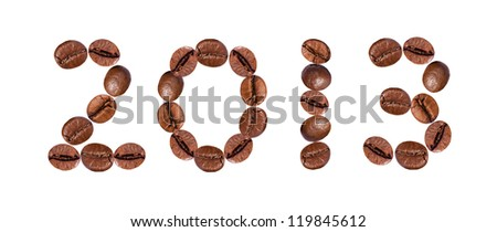 New Year 2013 made of beans coffee