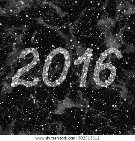 New Year 2016 made of stars. Abstract black and white texture background. Seamless illustration. #302513312