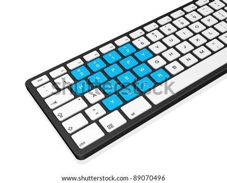 New year 2012 message on a computer keyboard, 3d illustration isolated on white - stock photo