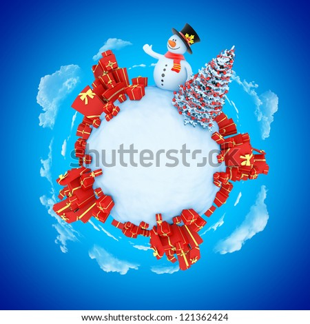 New Year mini planet concept with copy space. Snowman with fir and gifts.