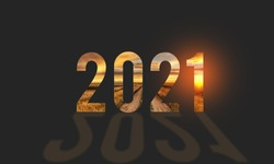 New year number 2021 with shadow on black background, Happy new year 2021 concept