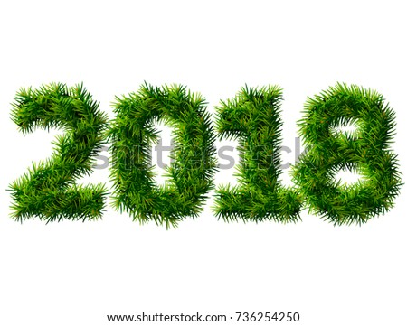 New Year 2018 of christmas tree branches isolated on white. Empty pine twigs in shape of number 2018. Design element for new years day, christmas, winter holiday, new years eve, silvester, etc