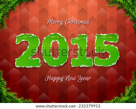 New Year 2015 of torn paper pinned pin. Paper numbers with christmas tree twigs. Qualitative illustration for new year\'s day, christmas, winter holiday, new year\'s eve, silvester, etc