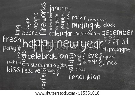 new year on blackboard - wordcloud