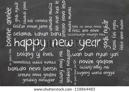 new year on blackboard - wordcloud in different language