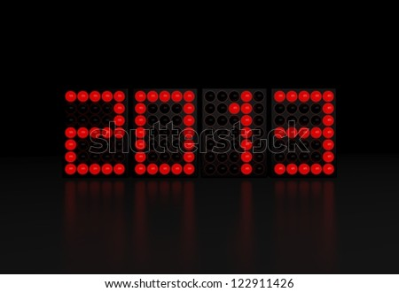 New year 2013 on red LED display