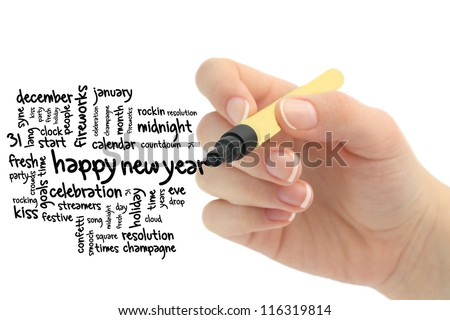new year on whiteboard - wordcloud