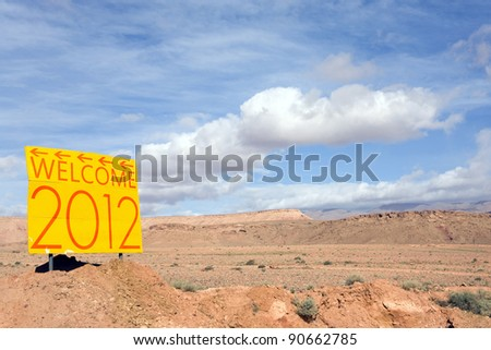 new year 2012 on yellow panel in the desert landscape