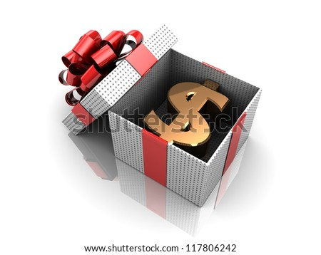 New year opened gift, 3d image