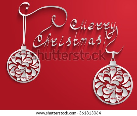 New Year or Christmas red background with an inscription and Christmas balls with numbers percent discount for sales. Rasterized version. #361813064