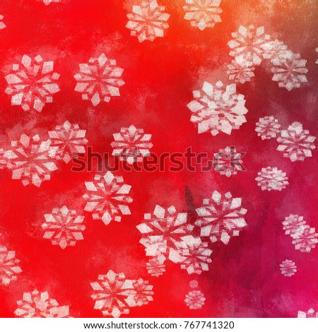 new year or christmas scene texture design abstract winter background and snowflakes watercolor and