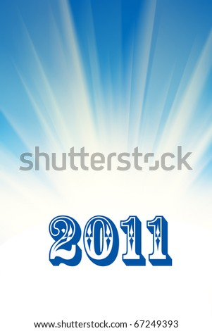 New 2011 year over abstract white rays and blue sky background.