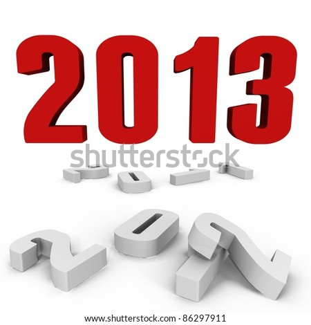 New Year 2013 over the past ones - a 3d image