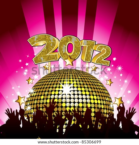New Year party background with crowd cheering in front of gold disco ball and 2012 sign