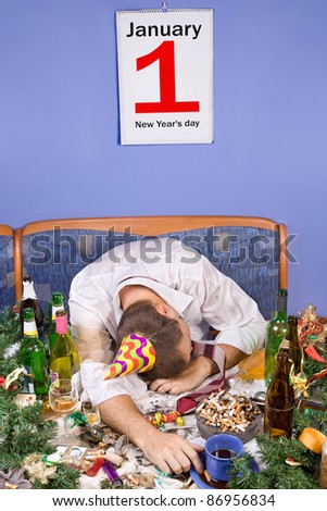 New Year party, Drunk man sleeping on the table