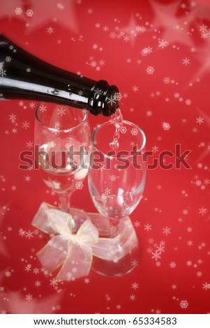 New year party with champagne glasses