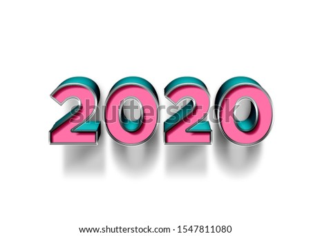 New Year, 2020, pink and blue, light, reflection, shadow. white background image, thick font, celebration, illustration, high quality. High resolution 3D, blue and pink texture