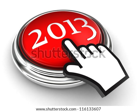 new year red button and cursor hand on white background. clipping paths included