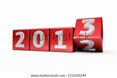 New Year 2013 red cube render isolated on white and clipping path - stock photo