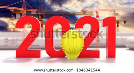 New year 2021 red number on construction project blueprint. Architect engineer construction site office. 3d illustration