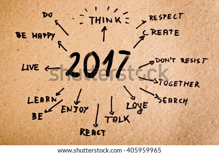 New Year Resolution 2017 Goals written on cardboard #405959965