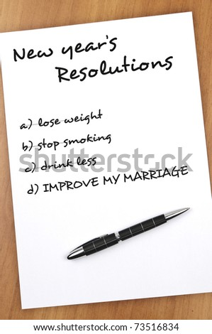 New year resolution with Improve my marriage not completed