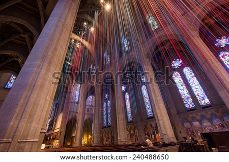 New Year ribbons celebration of Brace Cathedral in San Francisco, California  ストックフォト ©