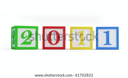 new year's 2011 alphabet blocks isolated on a white background