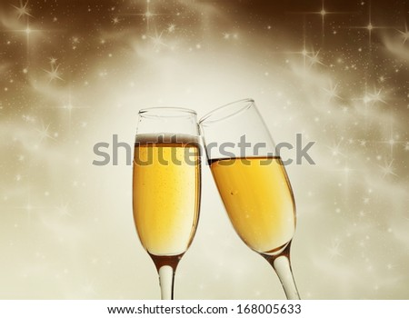 New Year's at midnight with champagne glasses #168005633