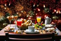 new year's breakfast with fireworks