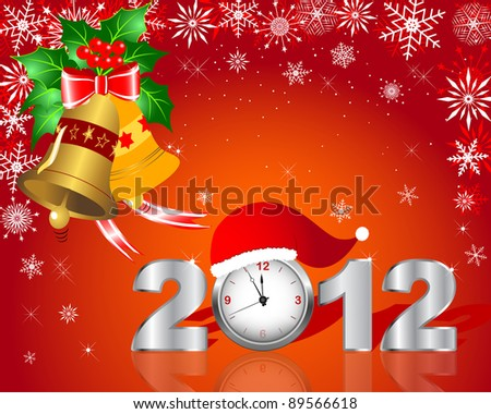 New Year's card. Silver figure 2012 with clock and handbells. Raster version. - stock photo