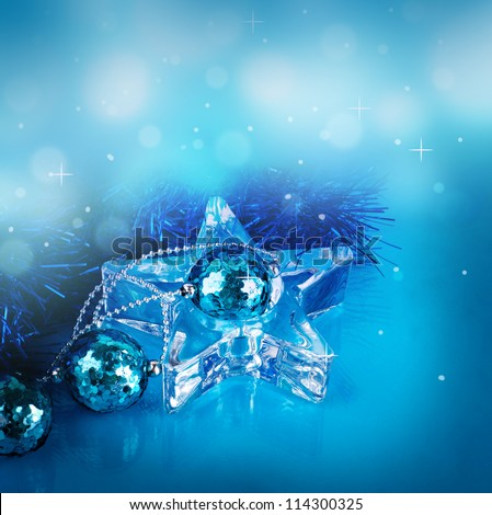 New Year's card with blue balls and a streamer
