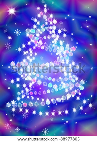 New Year\'s celebratory fur-tree with a garland on a bright abstract background