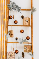 New Year's decor. New Year cards. tree made of wooden sticks. Christmas decorations