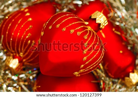 New Year's decorations, heap of red heart balls