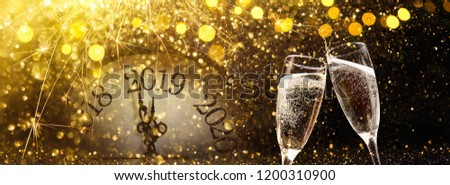 New Year\'s Eve 2019 Celebration Background with Champagne