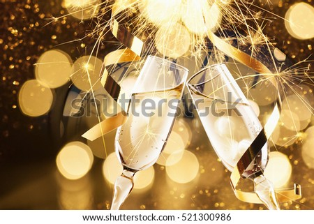 New Year\'s Eve celebration background with champagne
