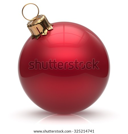 New Year's Eve Christmas ball bauble wintertime decoration red sphere hanging adornment classic. Traditional winter ornament happy holidays Merry Xmas event symbol glossy blank. 3d render isolated